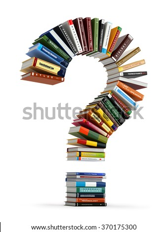 Question mark from books. Searching information or FAQ edication concept 3d - stock photo