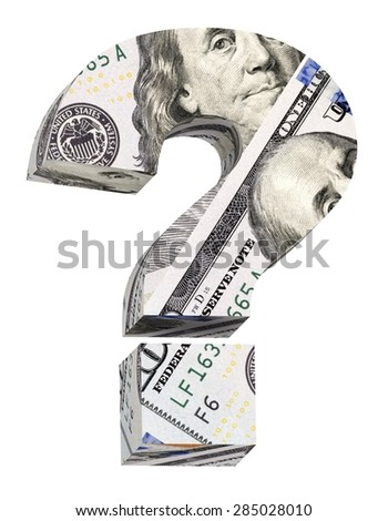 Question mark from dollar bill alphabet set isolated over white. Computer generated 3D photo rendering. - stock photo