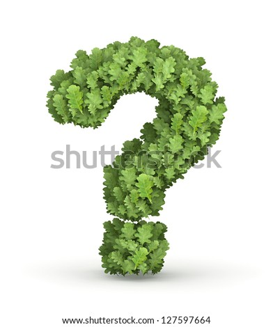 Question mark  from fresh green oak grow leaves - stock photo