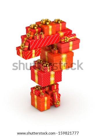 Question mark from gift boxes in isometric decorated with yellow ribbons