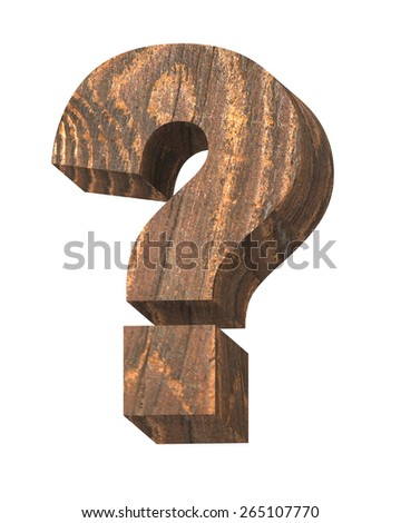 Question mark from old pine wood alphabet set isolated over white. Computer generated 3D photo rendering. - stock photo