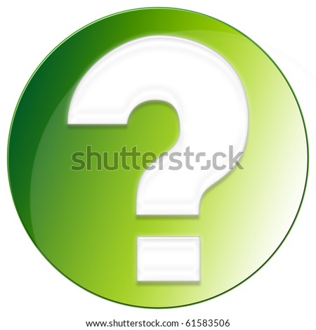 Question Mark Icon - green color - stock photo
