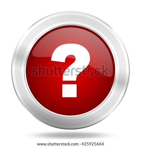question mark icon, red round metallic glossy button, web and mobile app design illustration - stock photo