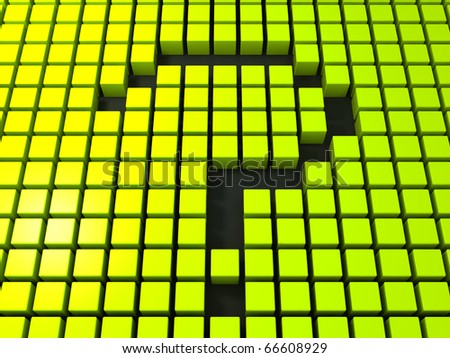 Question Mark in Abstract Cubes Matrix - stock photo