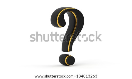 Question mark in black and gold material isolated on white background