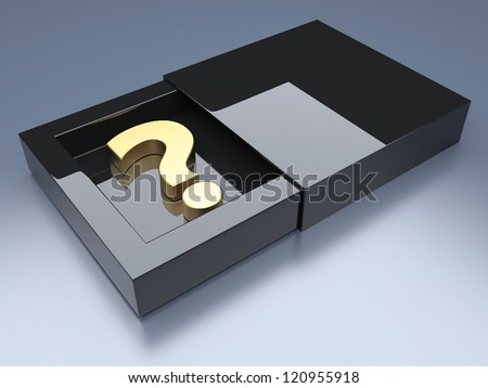 Question mark in black glossy opened box. 3d render illustration - stock photo