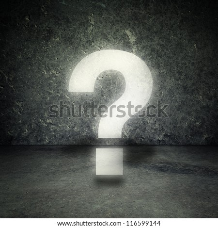 Question mark in concrete room - stock photo