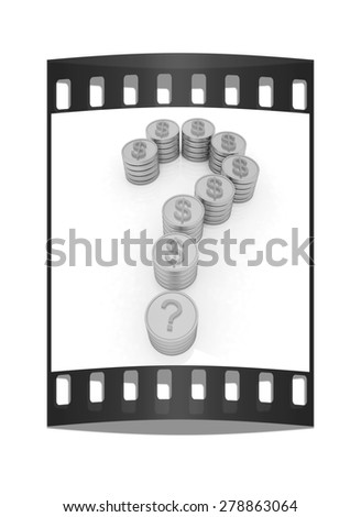 Question mark in the form of coins with dollar sign. The film strip - stock photo