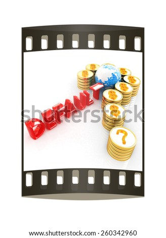 Question mark in the form of gold coins with dollar sign on a white backgroundt. The film strip - stock photo