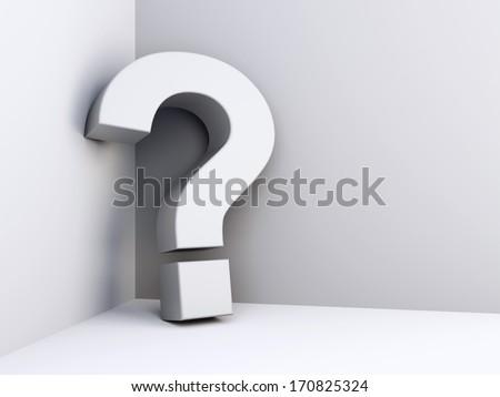 Question mark in white room corner - stock photo