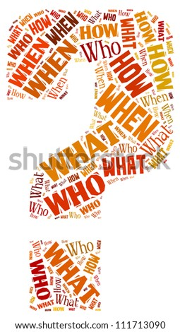 Question Mark in word collage - stock photo