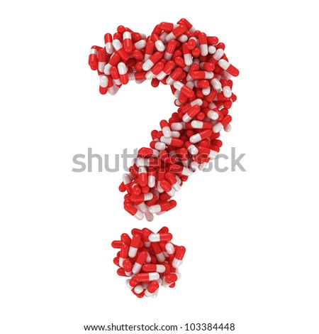 Question mark made from red and white capsules - stock photo