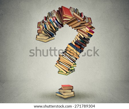 Question mark made of books ask search answer concept - stock photo