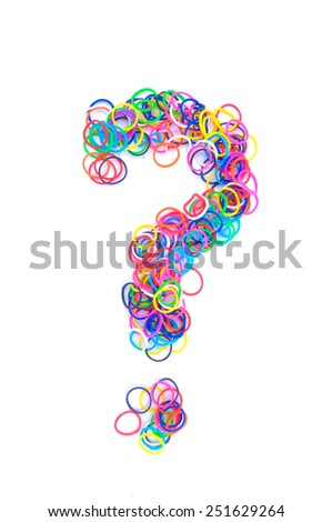 Question mark made using rubber band on white background - stock photo