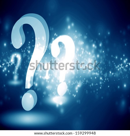 question mark on a glowing blue background - stock photo