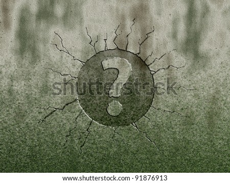 question mark on stone background - stock photo