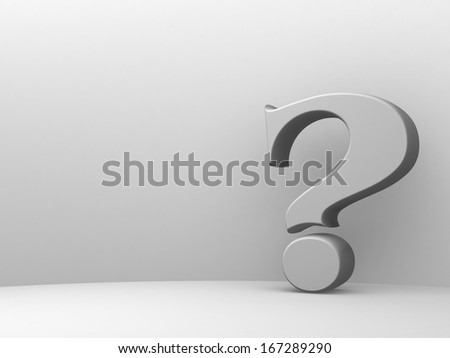 Question mark on white background - stock photo