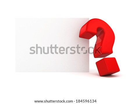 Question mark on white wall background 3d render blank trade show with space for your text and picture - stock photo