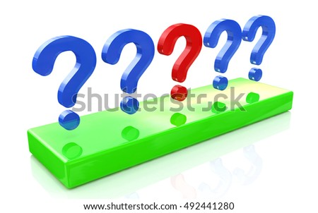 question mark row on a white background in the design of information related to the problem. 3d illustration