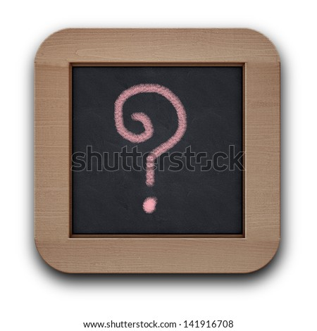 question mark sign on the black wood board - stock photo