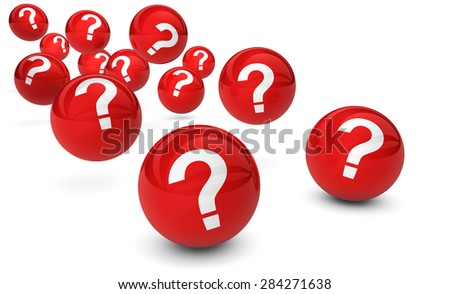Question mark symbol and sign on red bouncing glossy spheres 3d render isolated on white background.