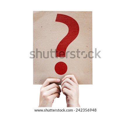 Question Mark Symbol card isolated on white background - stock photo