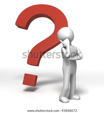 Question Mark Thinking (3D character in Deep thought) - stock photo