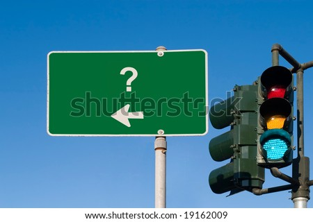 Question Mark Traffic Sign with Green light - stock photo