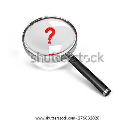 Question mark under a magnifying glass. 3d image. White background.  - stock photo