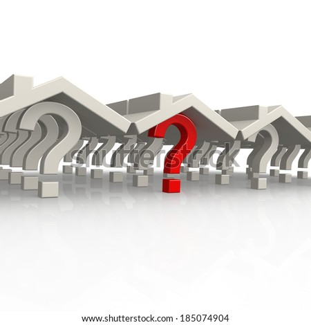 Question mark under the roof - stock photo