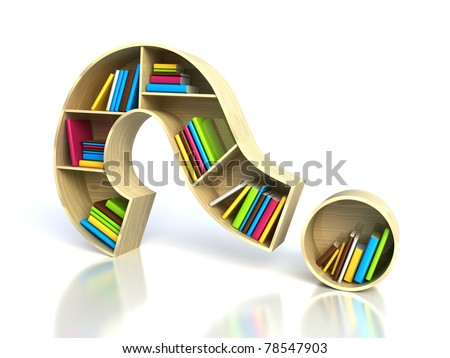 Question mark with books - search answer concept - stock photo