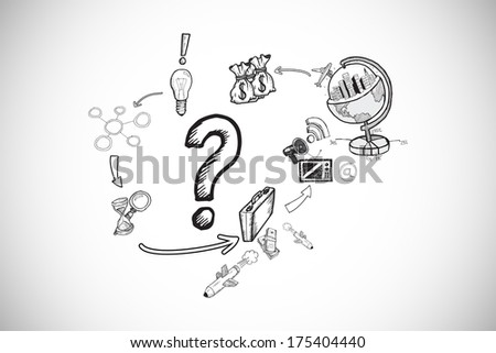 Question mark with earth and profit doodles against white background with vignette