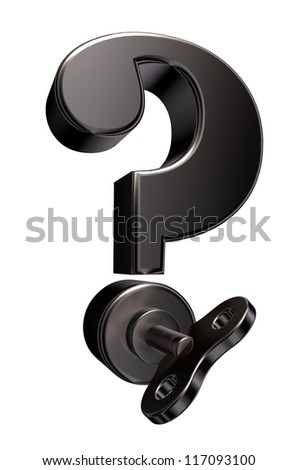 question mark with wind up key - 3d illustration - stock photo