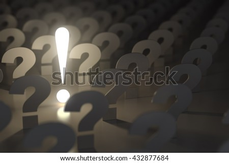 Question marks and exclamation sign. Idea or problem concept. 3d illustration - stock photo