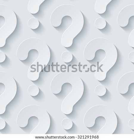 Question marks 3d seamless background. Light perforated paper pattern with cut out effect.  - stock photo