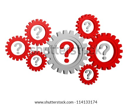 question-marks - red and grey signs in gearwheels - stock photo