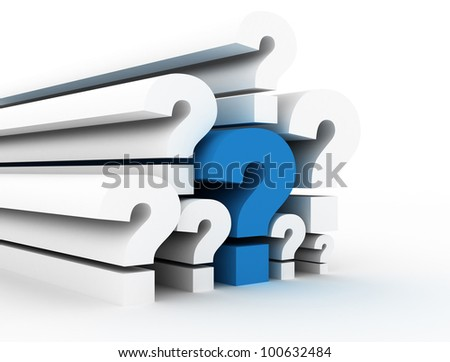 Question marks single blue - stock photo