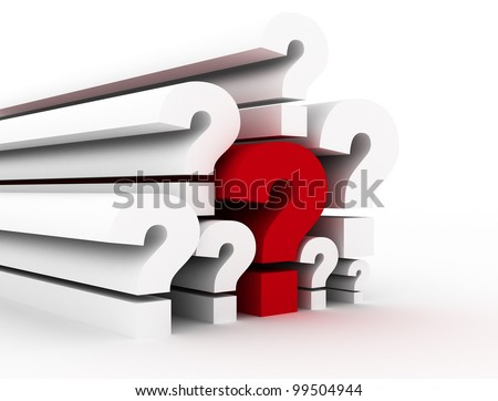 Question marks single red - stock photo