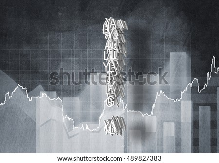Question of financial growth, 3D rendering