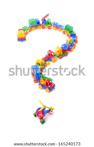 question of toy train trucks on white background