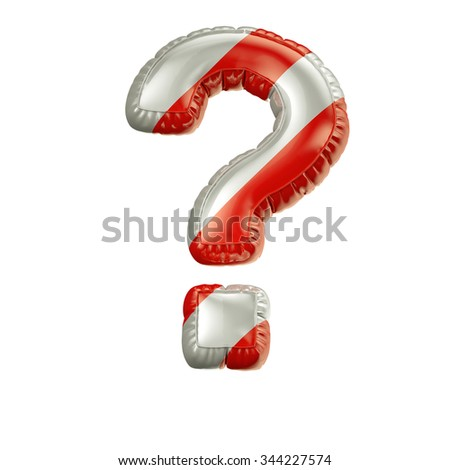 Question. Red and white Balloon font isolated on White Background.Birthday alphabet. - stock photo