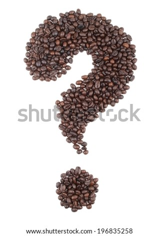 Question sign made of coffee bean, isoalted on whie - stock photo