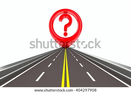 Question sign on road. Isolated 3D image - stock photo