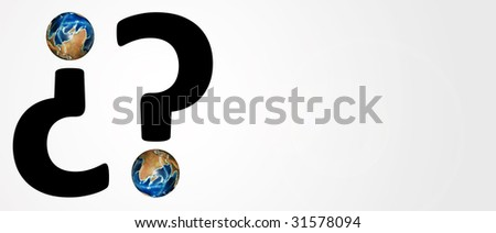 question sign on white background with world. Conceptual Image - stock photo