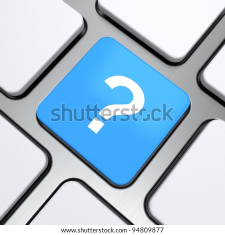 question symbol icon on a button keyboard, 3d render