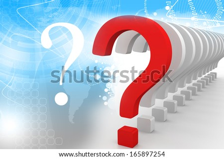 question symbol within a row of white signs isolated on color background with selective focus effect - stock photo