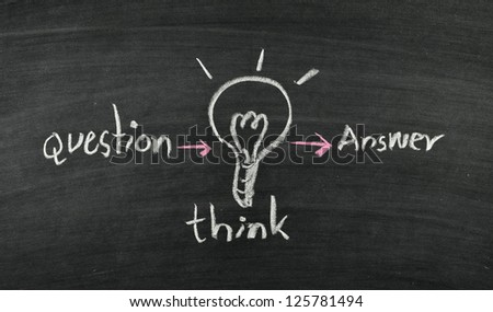 question,think,answer and light bulb on blackboard