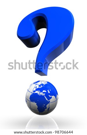 questionmark and globe blue symbol on white background.clipping path included
