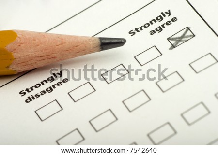 questionnaire, checklist with strongly agree checked off - stock photo