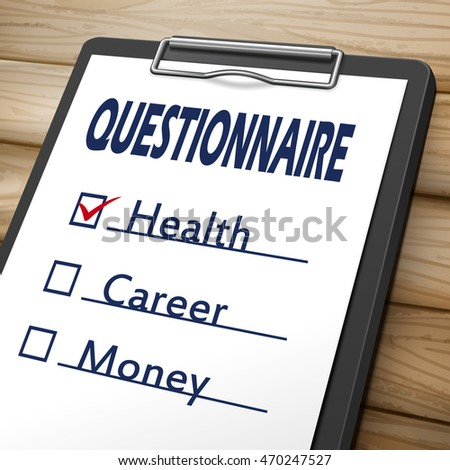 questionnaire clipboard 3D image with check boxes marked for health, career and money